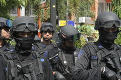 POLICE AND SECURITY FORCES IN CHRISTMAS AND NEW YEAR IN THE CITY SOLO CENTRAL JAVA Stock Photography