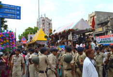 Police Security gathered for crowd control. Khadia, Ahmedabad, India on 21st June, 2012 - Police security gathered on road for crowd control during the 135th Royalty Free Stock Photography