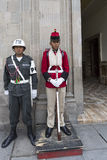 Police and security guard standing at the entrance of the Govern. Military Police and traditional security guard standing at the entrance door of the Government Stock Photos