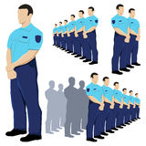 Police security guard vector set with blue uniform. Eps available Royalty Free Stock Images