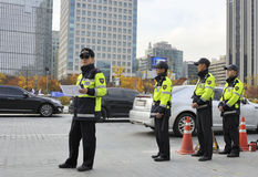 Police in Seoul Royalty Free Stock Image