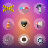 Police Sequrity Flat Vector Icon Set. Include road cone, barrica. Illustration of Police Sequrity Flat Vector Icon Set. Include road cone, barricade tape, police Royalty Free Stock Photos