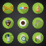 Police Sequrity Flat Vector Icon Set. Include road cone, barrica Royalty Free Stock Photography