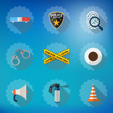 Police Sequrity Flat Vector Icon Set. Include road. Illustration of Police Sequrity Flat Vector Icon Set. Include road cone, barricade tape, police badge, car Royalty Free Stock Photography
