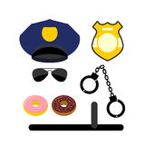 Police set icon. Police uniforms and handcuffs. Badge and nights Royalty Free Stock Images
