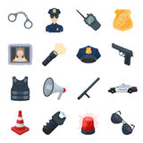 Police set icons in cartoon style. Big collection of police vector symbol stock illustration Stock Images