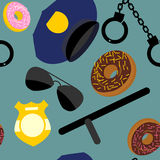 Police set seamless pattern. Police uniforms and handcuffs. Badg Royalty Free Stock Images