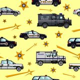 Police and  sheriff cars seamless pattern Stock Photo