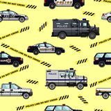 Police and  sheriff cars seamless pattern Stock Images