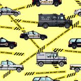 Police and  sheriff cars seamless pattern Stock Photos