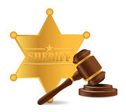 Police shield and gavel Royalty Free Stock Photos