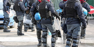 Police with shields and riot gear during the event in the city Royalty Free Stock Photography