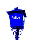 Police sign. Glass police station sign agaisnt whire background royalty free stock image