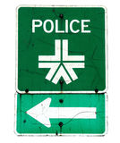 Police sign and arrow. Green police sign and directional arrow isolated on white background Stock Photos