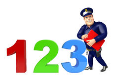 Police with 123 sign & book. 3d rendered illustration of Police with 123 sign & book Stock Photography