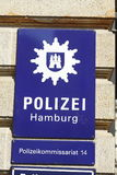 Police Sign with coat of Arms from the Police of the City Hambur. G stock photos