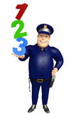 Police with 123 sign. 3d rendered illustration of Police with 123 sign Stock Image