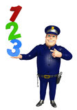 Police with 123 Sign. 3d rendered illustration of Police with 123 Sign Stock Photo