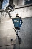 Police sign and surveillance camera Stock Photography
