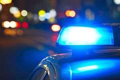 Police siren. Police car on the street at night Stock Photography