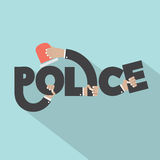 Police With Siren Light In Hands Typography Design Royalty Free Stock Images