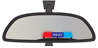 Police Sirens In Rear View Mirror Stock Image