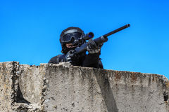 Police sniper in action Royalty Free Stock Photos