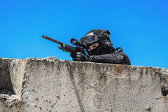 Police sniper in action Stock Photos
