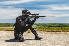 Police sniper in action Royalty Free Stock Photography