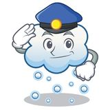 Police snow cloud character cartoon Stock Images