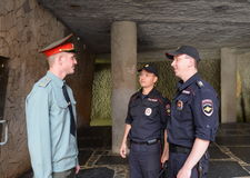 Police from a soldier of the guards of honour on the Mamayev Kurgan in Volgograd. Stock Images
