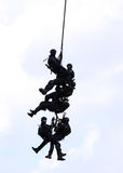 Police special forces. Police squad in air action Stock Photo