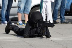 Police special forces in action Royalty Free Stock Images