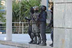 Police special forces in action. Police special forces in Spain in action royalty free stock photography