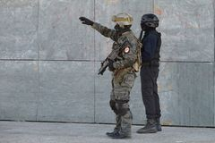 Police special forces in action. Police special forces in Spain in action royalty free stock image