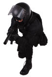 Police special forces officer in black uniform Royalty Free Stock Photo