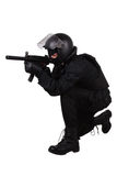 Police special forces officer in black uniform Stock Images