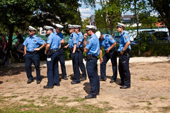 Police spectators watch the show Royalty Free Stock Photo
