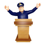 Police with Speech stage. 3d rendered illustration of Police with Speech stage Stock Photos