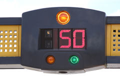 Police speed camera radar. Warning on street in city Royalty Free Stock Image