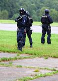 Police squad. Police squad in action. Exhibition of a Czech antiterorrist team, Pilsen Aeronautical Days on August 27, 2011 in Pilsen Stock Photography