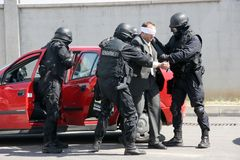 Police squad catch terrorists with bomb in a car in the city of Sofia, Bulgaria – sep, 11,2007. Crime scene. Criminals. Royalty Free Stock Photo