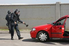 Police squad catch terrorists with bomb in a car in the city of Sofia, Bulgaria – sep, 11,2007. Crime scene. Criminals. Suspicious package Stock Photos