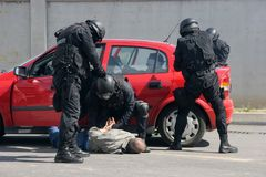 Police squad catch terrorists with bomb in a car in the city of Sofia, Bulgaria – sep, 11,2007. Crime scene. Criminals. Suspicious package Royalty Free Stock Image