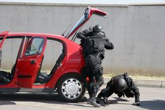 Police squad catch terrorists with bomb in a car in the city of Sofia, Bulgaria – sep, 11,2007. Crime scene. Criminals. Suspicious package Stock Photography