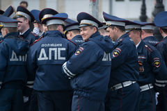 Police squad. Yoshkar-Ola, Russia - May 4, 2017 General rehearsal of the parade in Yoshkar-Ola. Police officers rest before the march Royalty Free Stock Photo