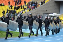 Police at the stadium. Stock Photos