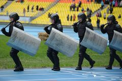 Police at the stadium. Royalty Free Stock Photos
