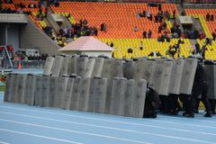 Police at the stadium. Stock Photography