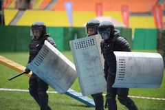 Police at the stadium. Royalty Free Stock Photo